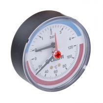 80mm Dia Back Conn 0-6 Bar/0-120°c Temperature & Pressure Gauge 503060