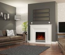 "Elgin and Hall Amorina 50"" Electric Fireplace  White Micro Marble"
