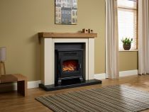 "Elgin and Hall Bracken 46"" Electric Fireplace Stone with Anthracite back panel and hearth"