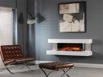 Evonic Compton 1000 Electric Fire White, Woodland Log Set, Grey Tile