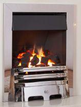 Kohlangaz Gosford Plus Gas Fire  Signature Chrome & Black Trim and Chrome Aviva Fret